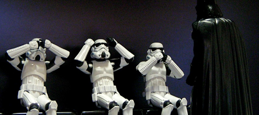 stormtroopers avoiding Darth Vader's offensiveness